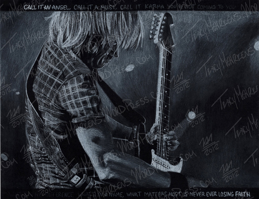 Copy of Keith Urban. White Conte on Paper. 11x8.5 in. 2012.