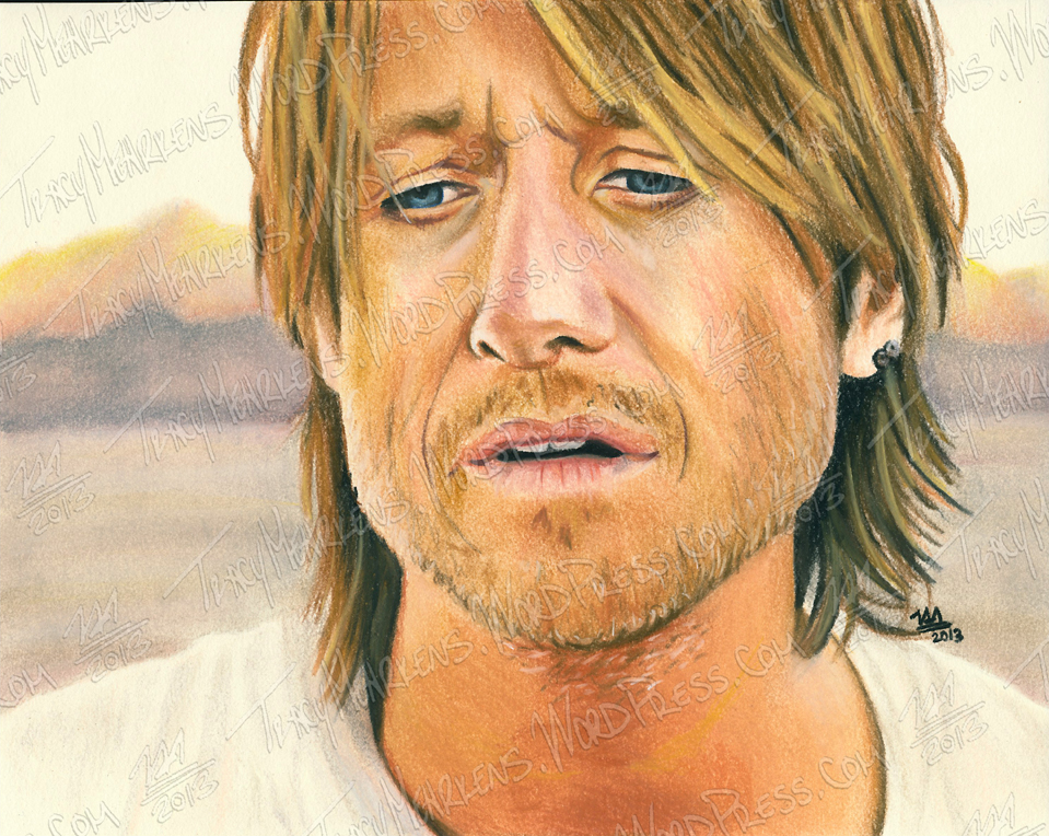 Keith Urban. Pastel on Paper. 10x8 in. 2013.