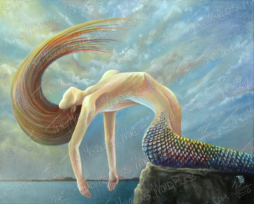 Copy of Mermaid. Acrylic on Canvas. 20x16 in. 2016.