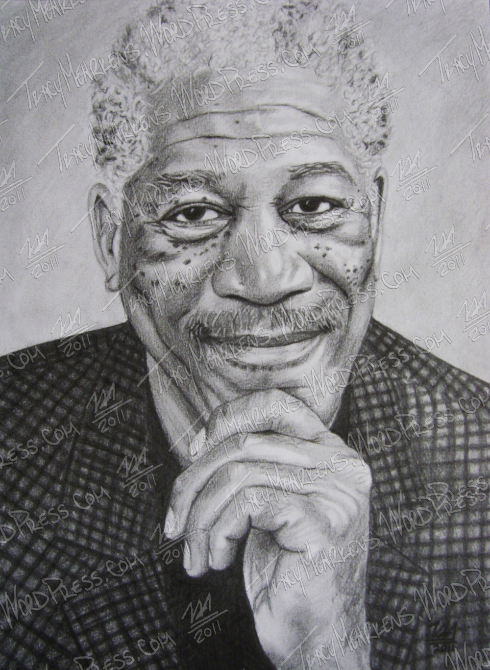 Morgan Freeman. Graphite on Paper. 7.75x10.5 in. 2011.