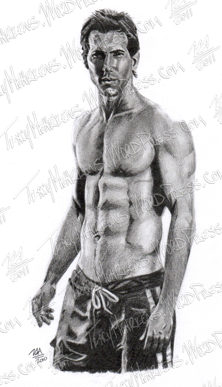 Ryan Reynolds. Graphite on Paper. 4.5x8 in. 2010.