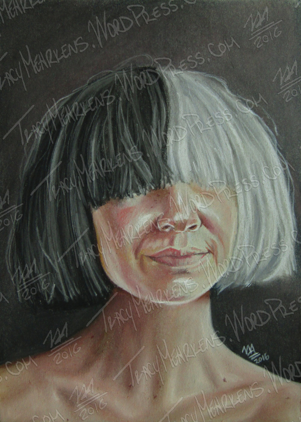 Copy of Sia. Pastel on Paper. 5x7 in. 2016.