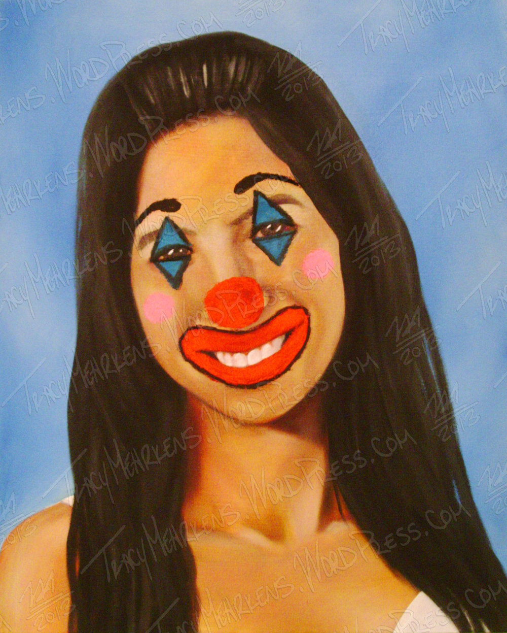 Roomie The Clown. Acrylic on Canvas. 20x28 in. 2013.