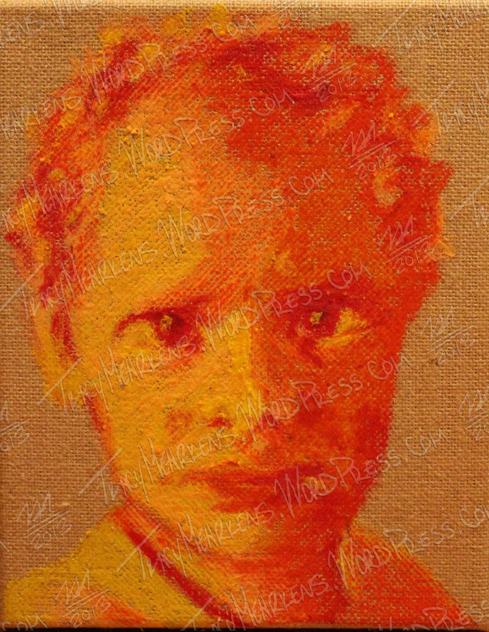 Crayon on Burlap Canvas. 8x10 in. 2014.