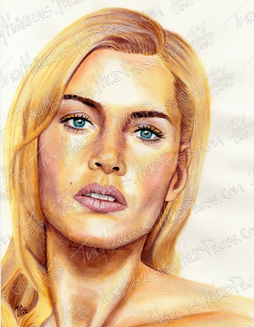 Copy of Kate Winslet. Watercolor on Paper. 8.5x11 in. 2012.