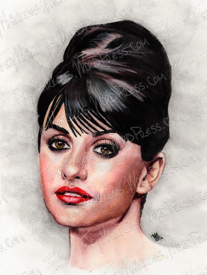 Penelope Cruz. Watercolor on Paper. 2012.