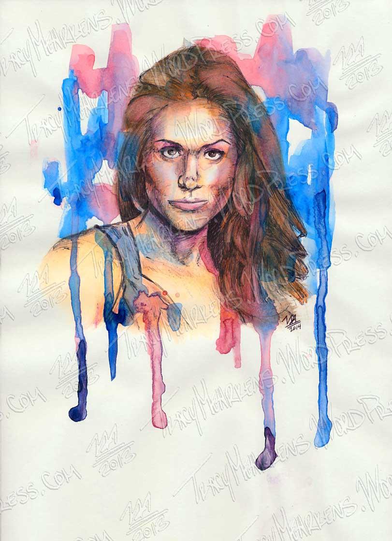 Copy of Rachel. Watercolor, Ink on Paper. 9x12 in. 2014.