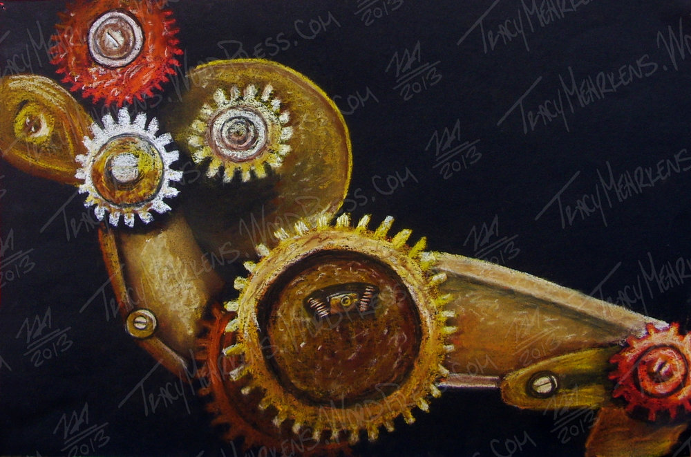 Gears. Pastel on Paper. 15x10 in. 2013.