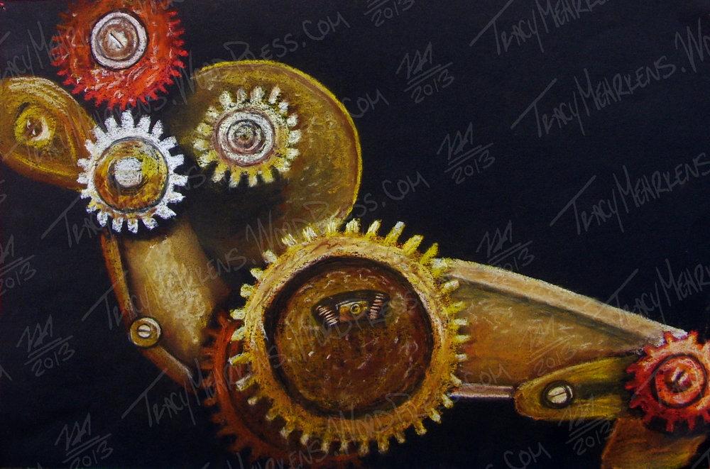 Copy of Gears. Pastel on Paper. 15x10 in. 2013.