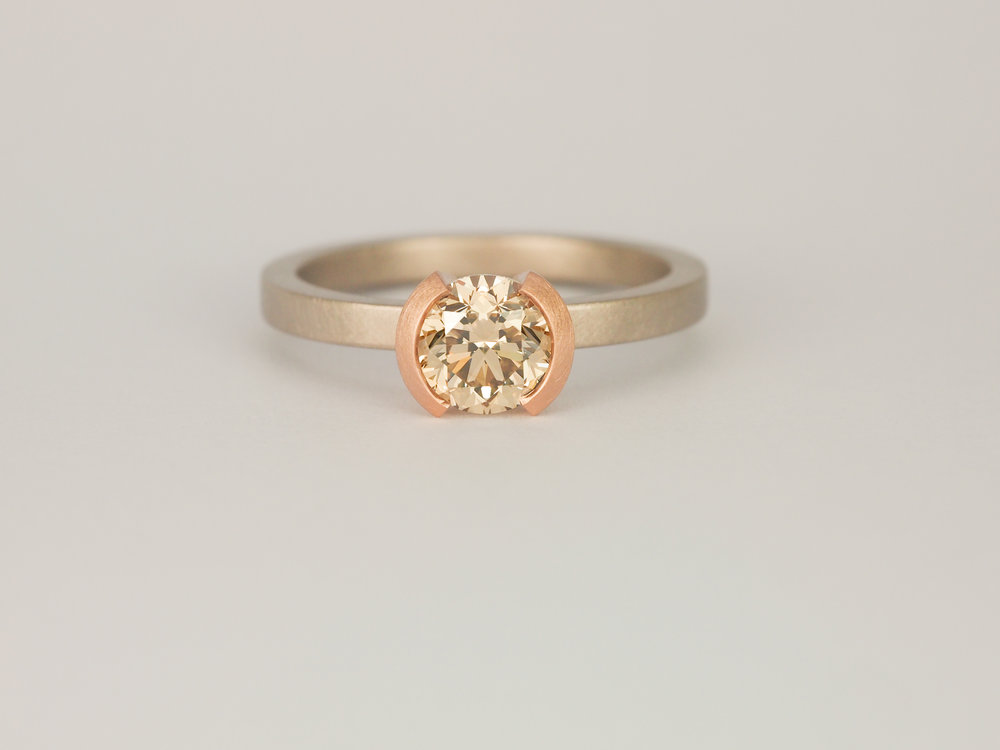 Champagne diamond rose gold and grey white gold engagement ring