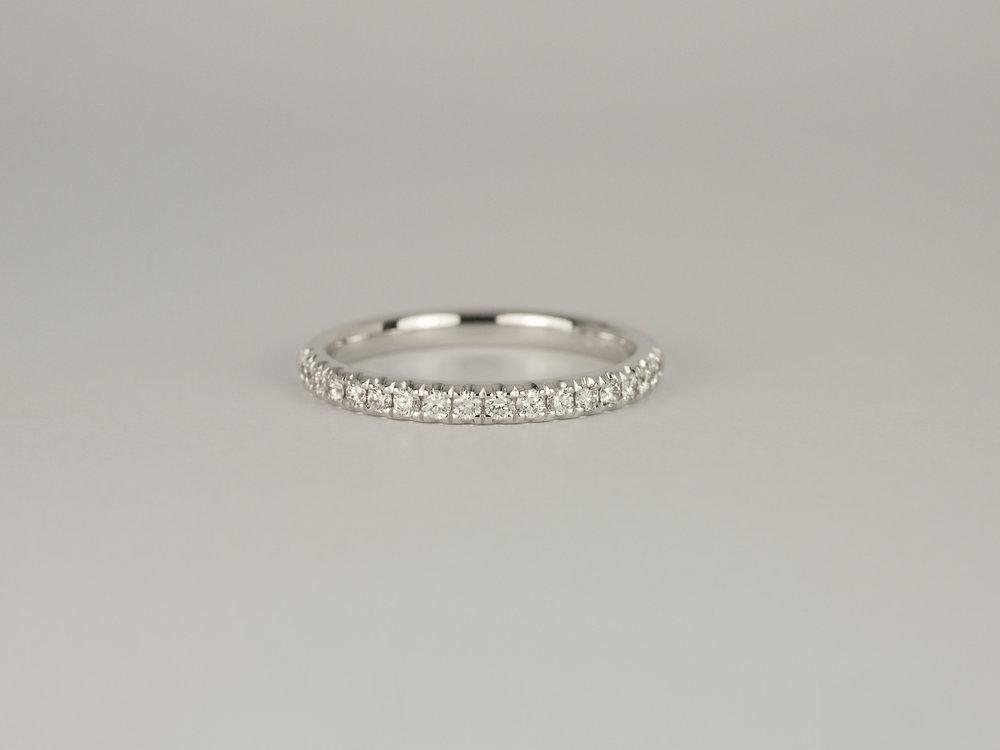 Microset diamond wedding band in white gold