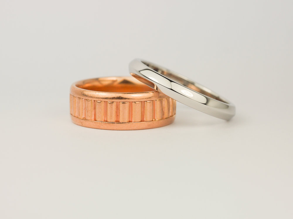 Men's wedding rings in rose gold and platinum