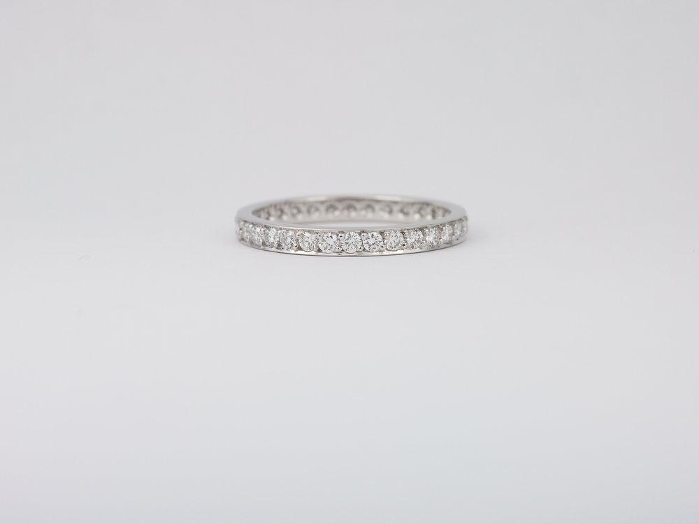 Pavé set diamond wedding band in platinum