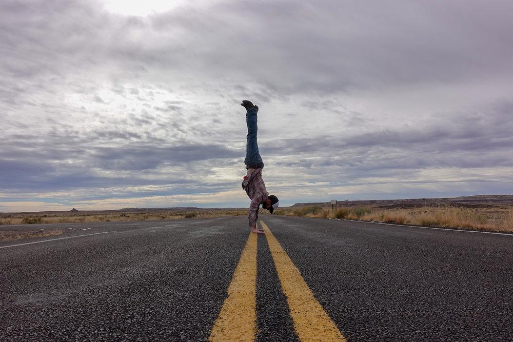 Steve Handstand in the Street