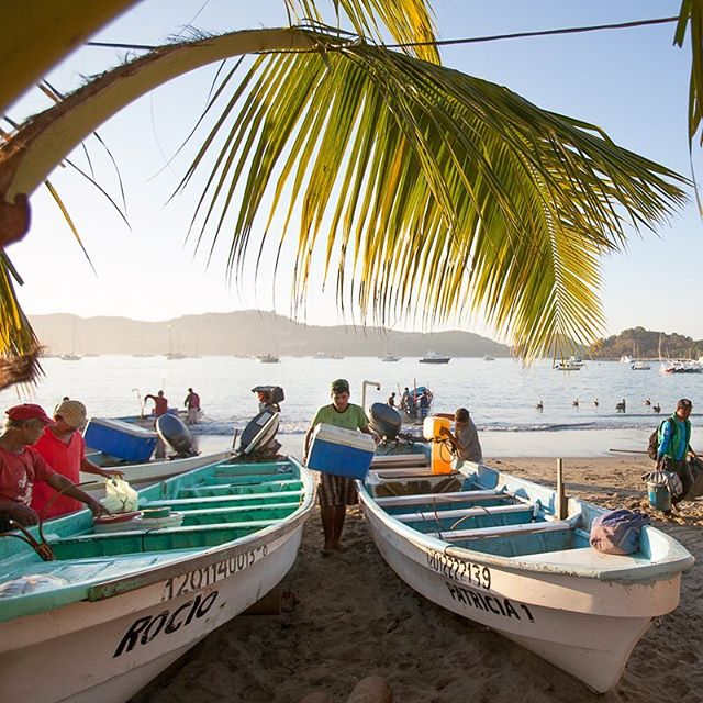Fisherman returning with their catches as the sun rises over Playa Principal, Zihuatanejo, México. #zihuatanejo #earlybird #localeconomy #catchoftheday #mexico #natgeoyourshot