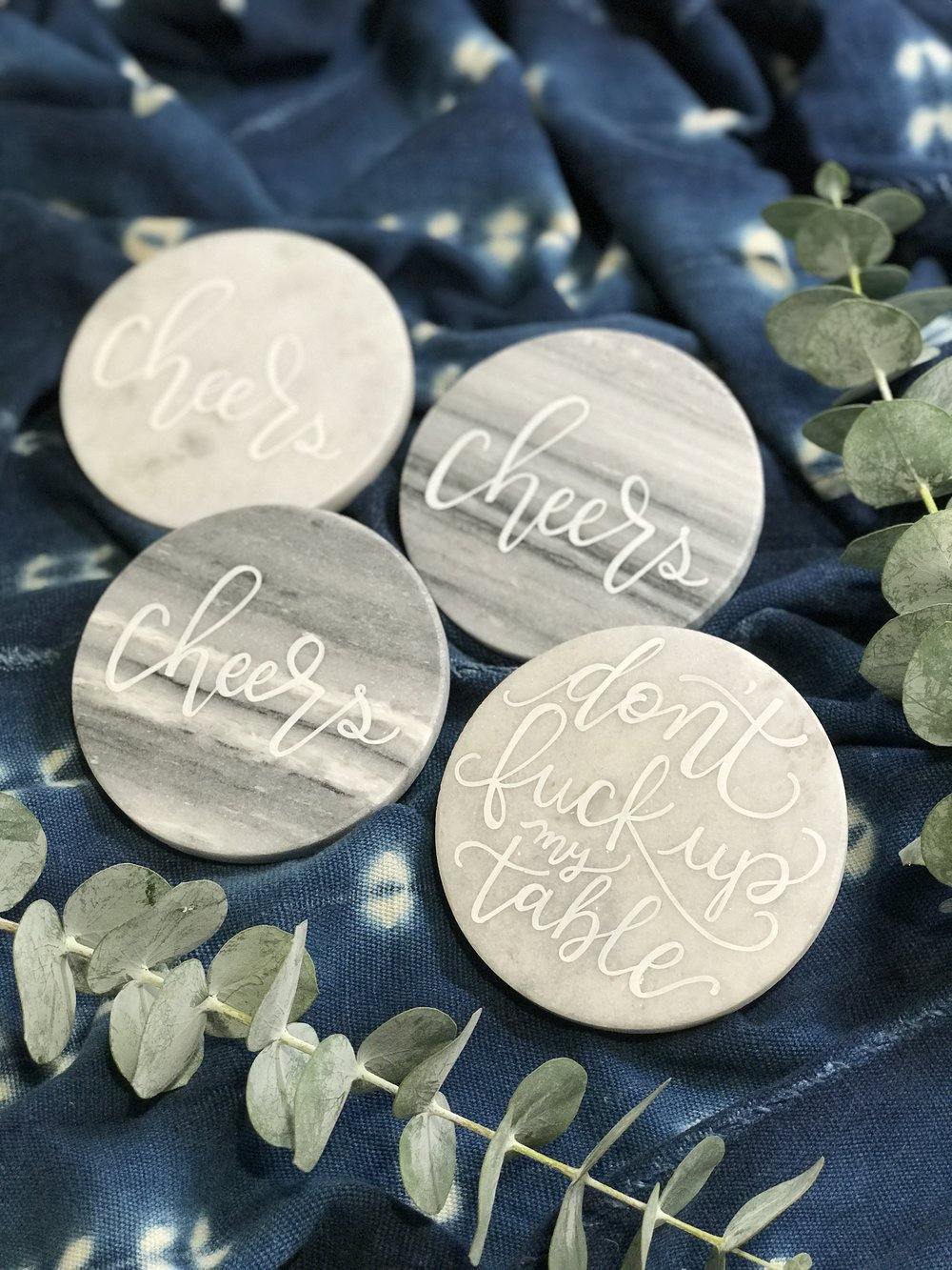 Hand Lettered Grey Marble Coasters
