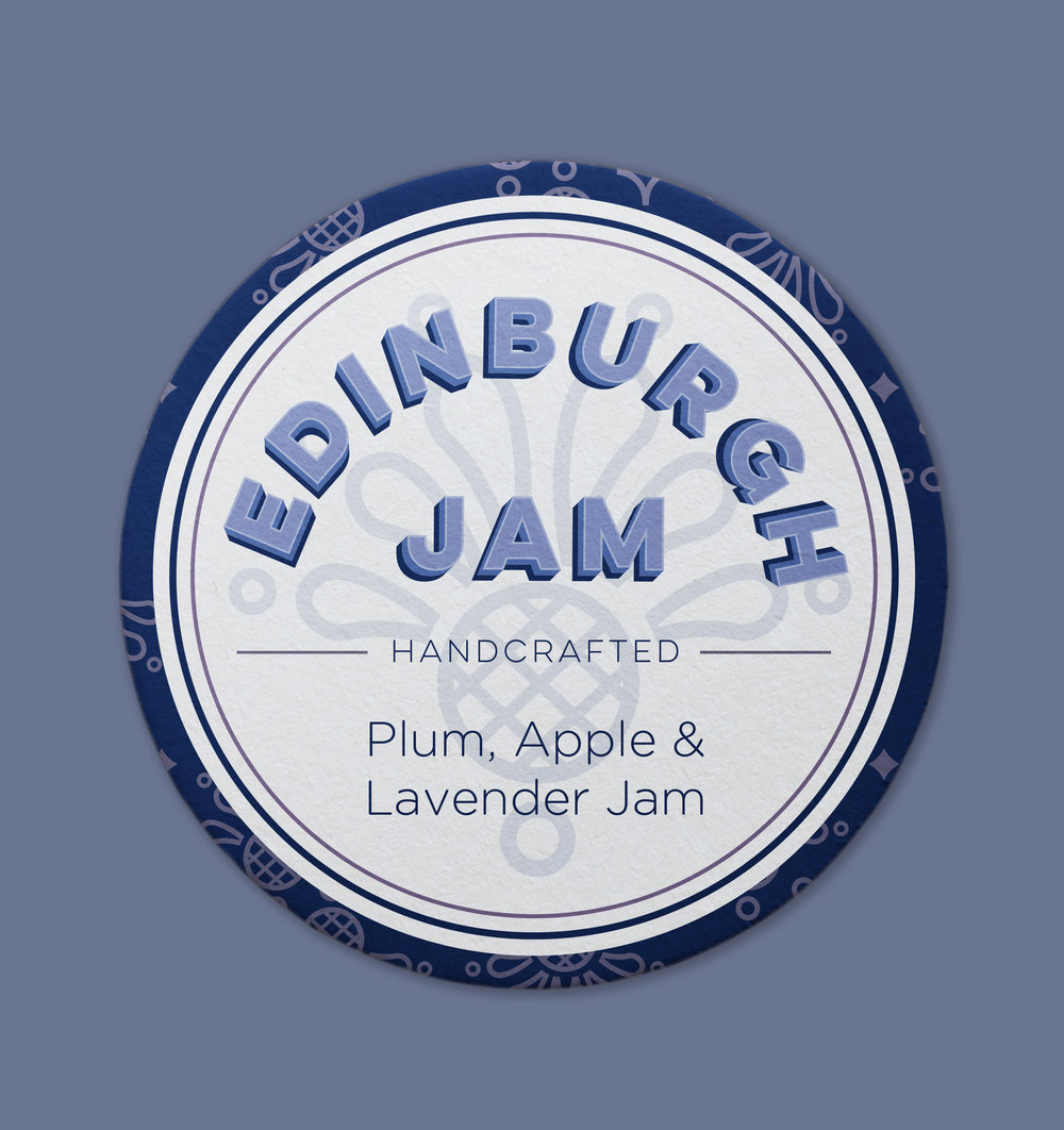 Edinburgh Jam Jar Label (Featuring Thistle Pattern)