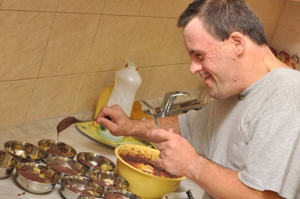 man making pudding