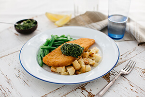 104. Crumbed Fish with Salsa Verde