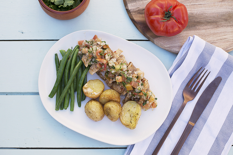 182. Portuguese Chicken served with potatoes, green beans and tomato salsa