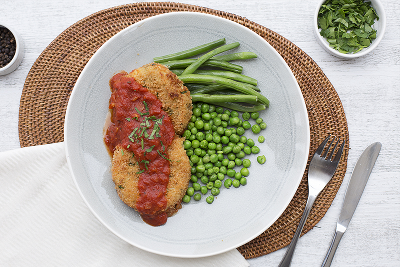 161. Italian Fish Cakes with pepperonata sauce served with beans and peas