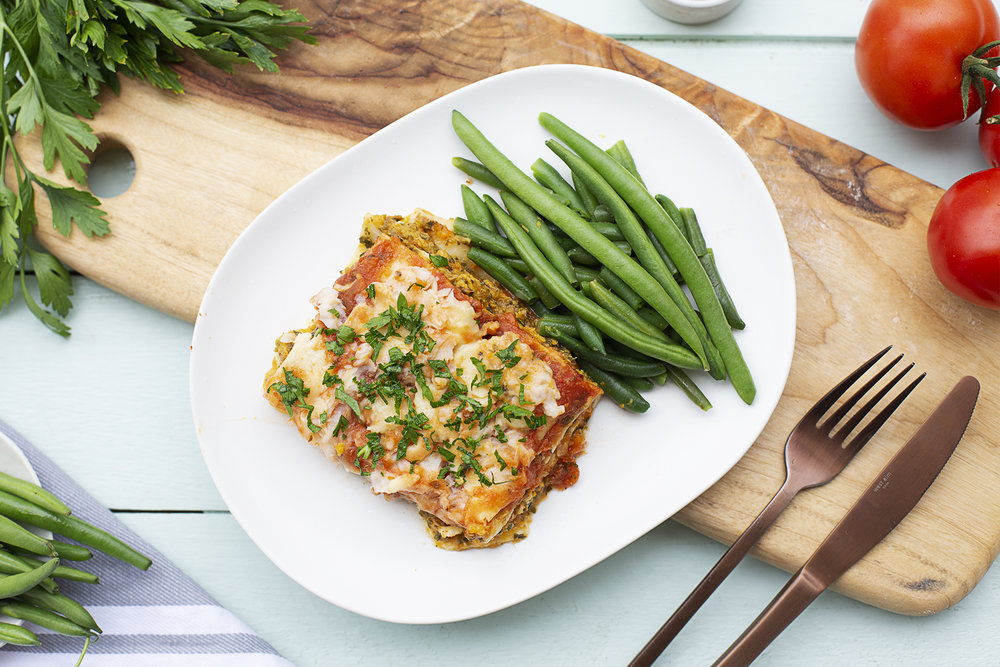 196. Pumpkin & Ricotta Lasagne served with green beans