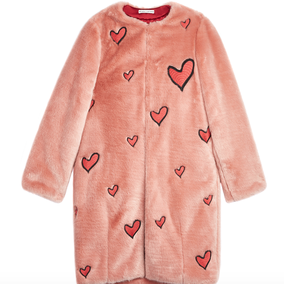 Alice and Olivia : Madge Embroidered Faux Fur Long Boxy Coat , $477.00