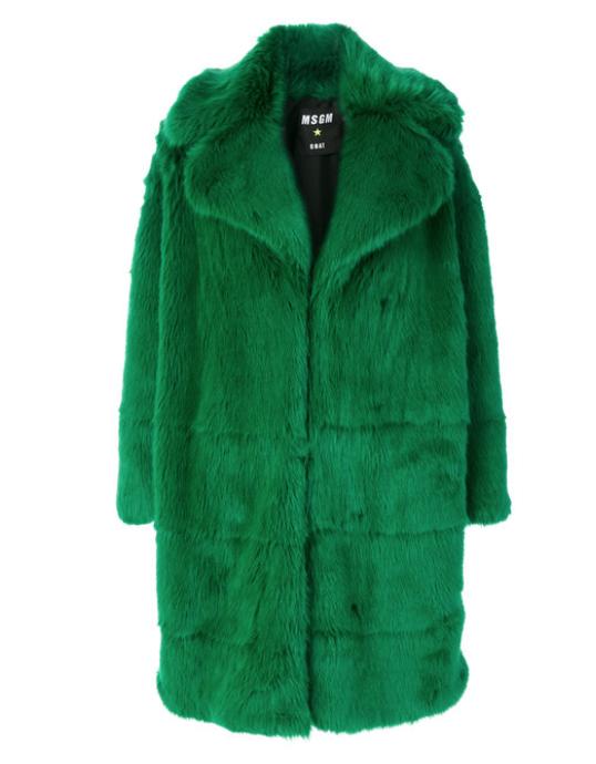 MSGM : Green Long Faux Fur Coat , $755.00