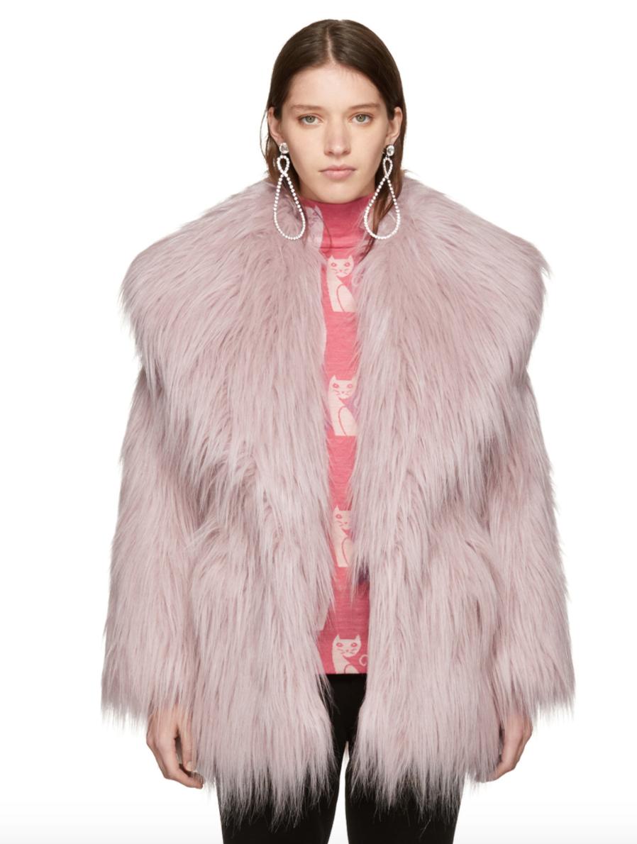 Miu Miu : Pink Faux-Fur Oversized Lapel Jacket , $1846.00