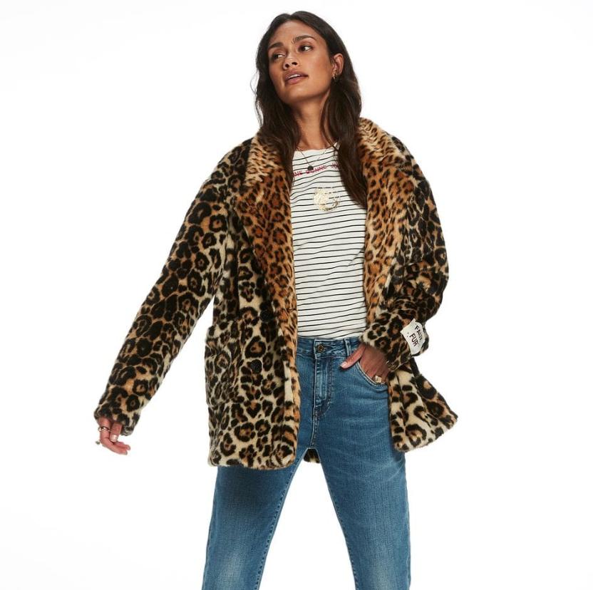 Scotch&Soda : Leopard Print Faux Fur Coat , $298.00