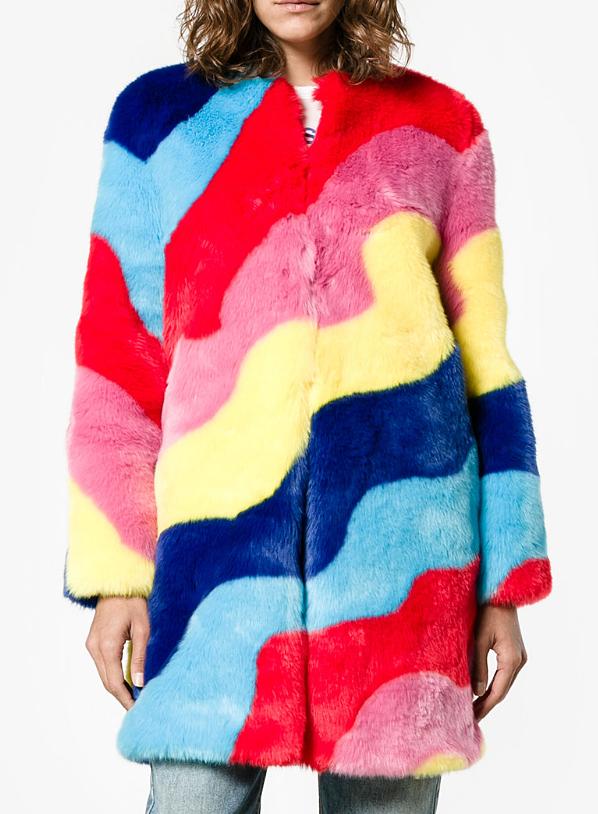 MIRA MIKATI : faux fur rainbow wave coat , $385.00