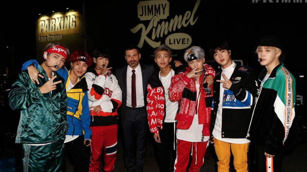 Image Source, Jimmy Kimmel  - (Left to Right: V, JHope, Jungkook, Jimmy Kimmel, RM, Suga, Jin, Jimin)