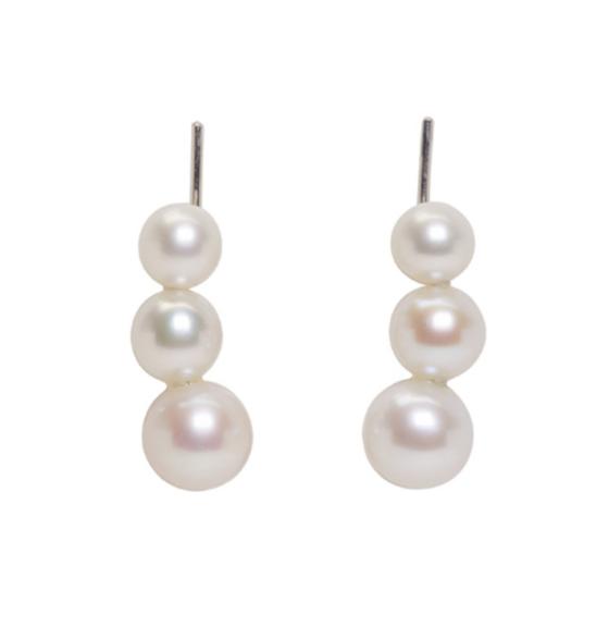 Saskia Diez SIlver Triple Pearl Earrings $265.00
