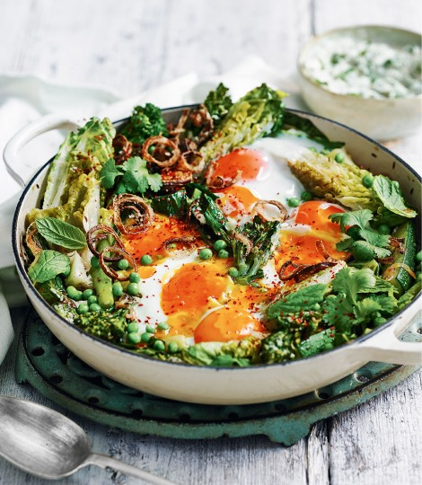 Green shakshuka with yogurt. - The perfect brunch dish from delicious magazine.