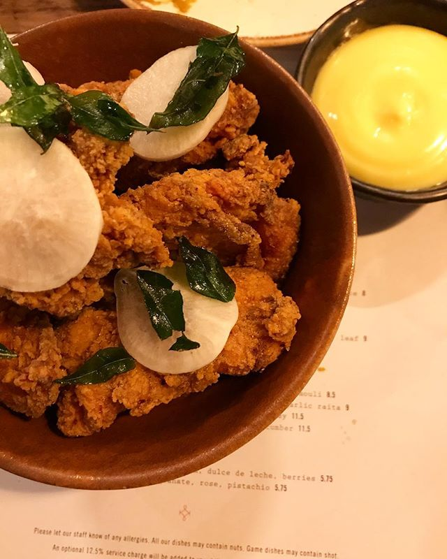 Keralan fried chicken with curry leaf mayo and pickled daikon courtesy of @kricketlondon 👌🏻#Kricket #FriedChicken #Foodie #LondonFoodie #F52 #LondonEats #GoodFoodGuide #InstaGood #InstaFood #InstaLike
