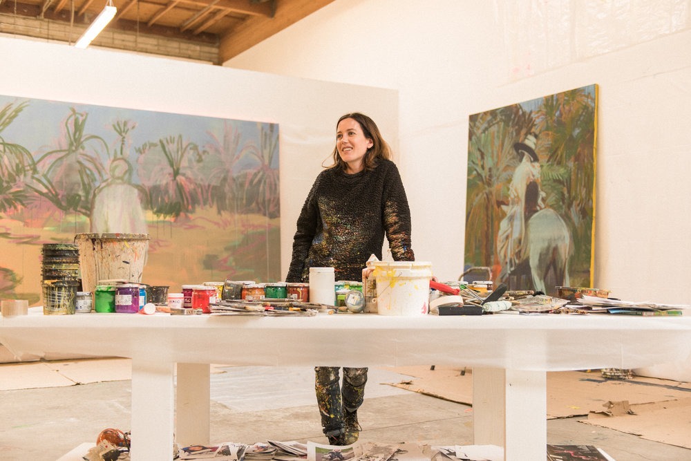 Claire Tabouret at her spacious studio in LA.