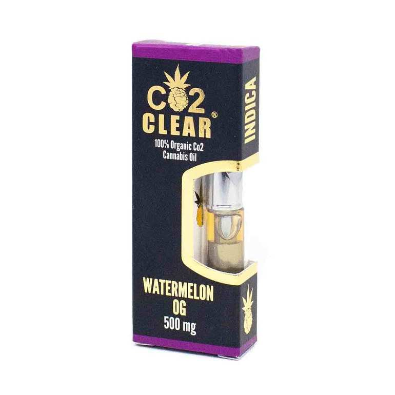 Watermelon OG Cartridge by Co2 Clear contains our 100% organic CO2 extracted THC oil processed from indica strain Watermelon OG. Watermelon OG is a strain that is known for their high THC content and relaxing effects. The strain has a distinct fruity flavor similar to a Jolly Rancher. Co2 Clear Carts are always free of waxes and lipids, universal 510 threaded, and designed to produce huge clouds of vapor for a satisfying hit, every time!