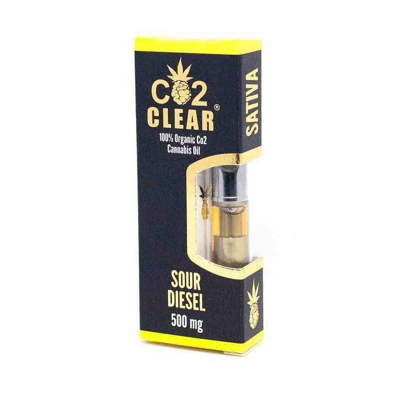 Sour Diesel Cartridge by Co2 Clear contains our 100% organic CO2 extracted THC oil processed from sativa strain Sour Diesel. Sour Diesel is a celebrity among cannabis strains, heralded far and wide for its dreamy, uplifting high that induces a trance-like state in those who consume it. This cartridge is the ideal companion for a day spent enjoying nature with friends or under the sunshine with loved ones. Sour Diesel results from a Mass Super Skunk x 91 Chemdawg cross. Co2 Clear Carts are always free of waxes and lipids, universal 510 threaded, and designed to produce huge clouds of vapor for a satisfying hit, every time!