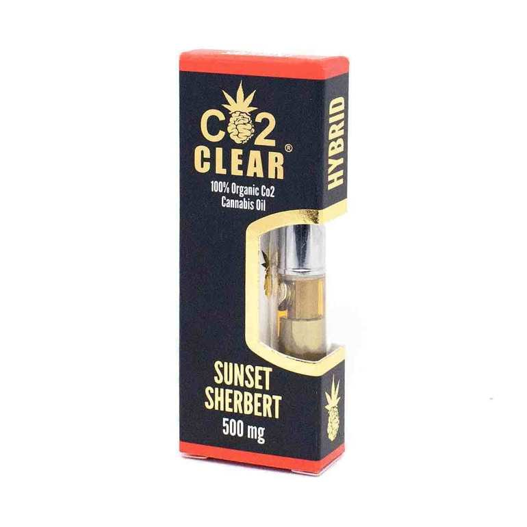 Sunset Sherbet Cartridge by Co2 Clear contains our 100% organic CO2 extracted THC oil processed from indica dominant hybrid strain Sunset Sherbert. The result of a cross between Girl Scout Cookies and Pink Panties, Sunset Sherbert displays a creamy, rich flavor profile that would make its parents proud. Indica dominant effects engulf the body, while the mind is gently swept free of any lingering anxiety. Our Sunset Sherbert cartridge is ideal for use later in the afternoon and on into the evening. Co2 Clear Carts are always free of waxes and lipids, universal 510 threaded, and designed to produce huge clouds of vapor for a satisfying hit, every time!