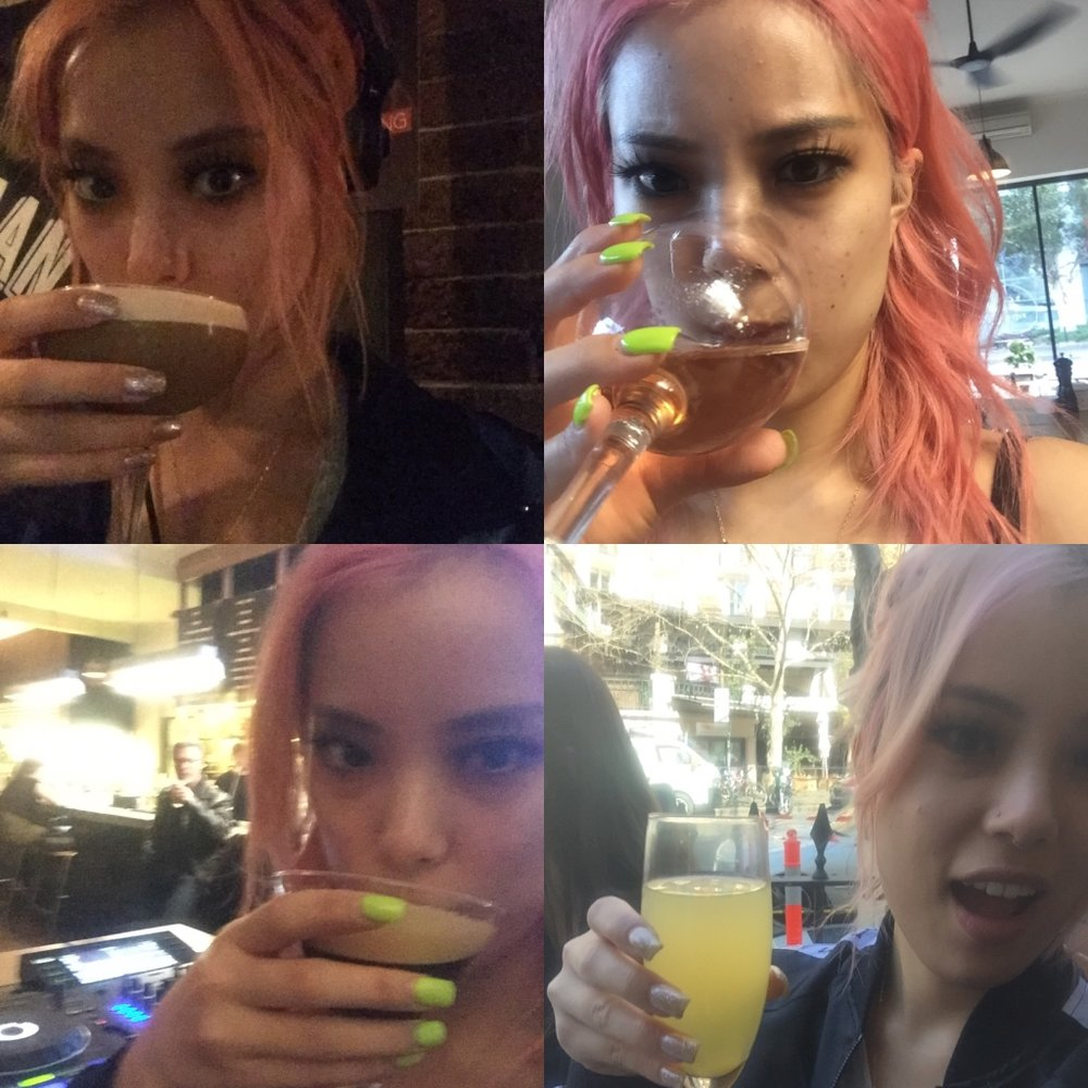 """And to finish, I realised I have so many """"drinking-at-gig"""" selfies I made a collage of some of them lol."""