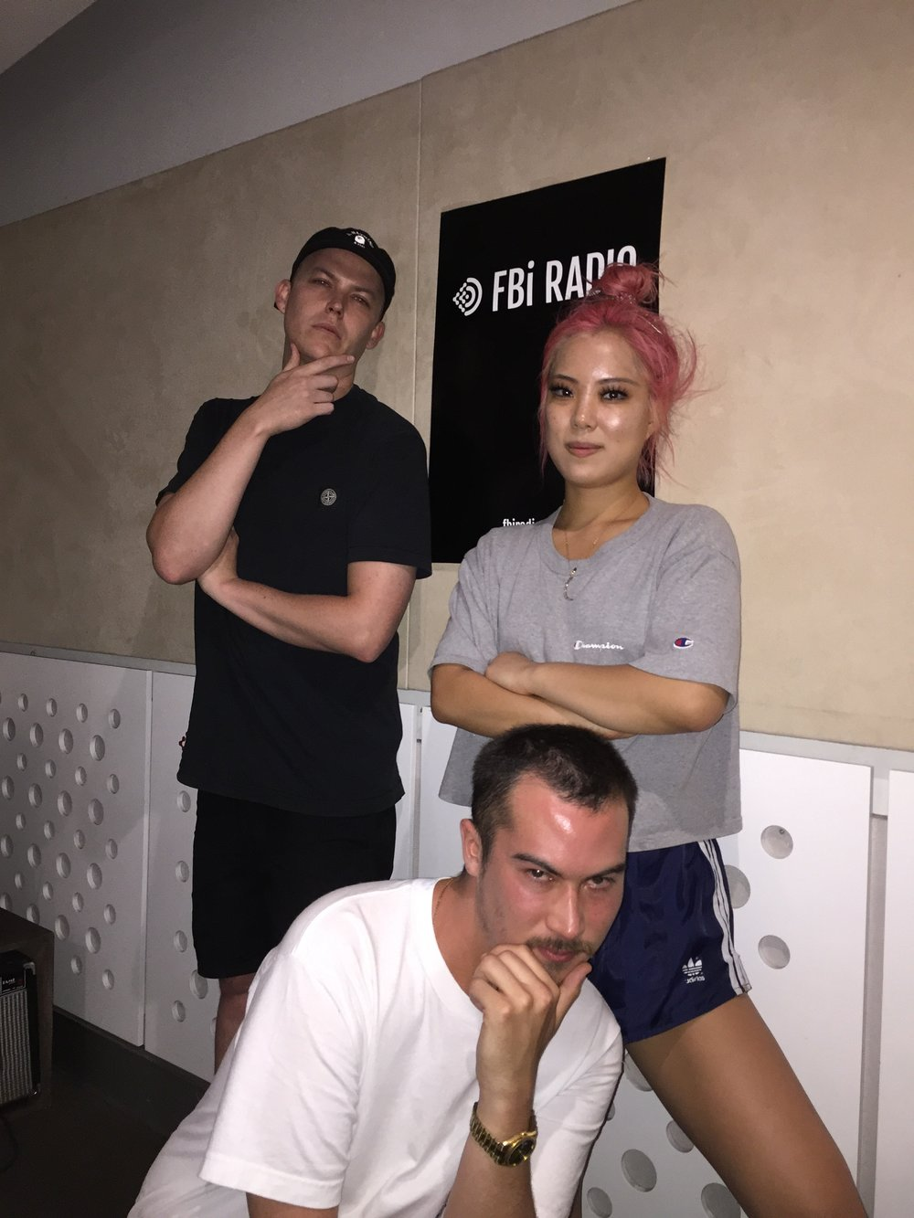 """December 2016 - Officially our first ever show as """" Midnight with Swiss Dank """" on FBi Radio 💕 Having a radio show has been a dream of mine, and to do it with two of my m8s is unreal."""