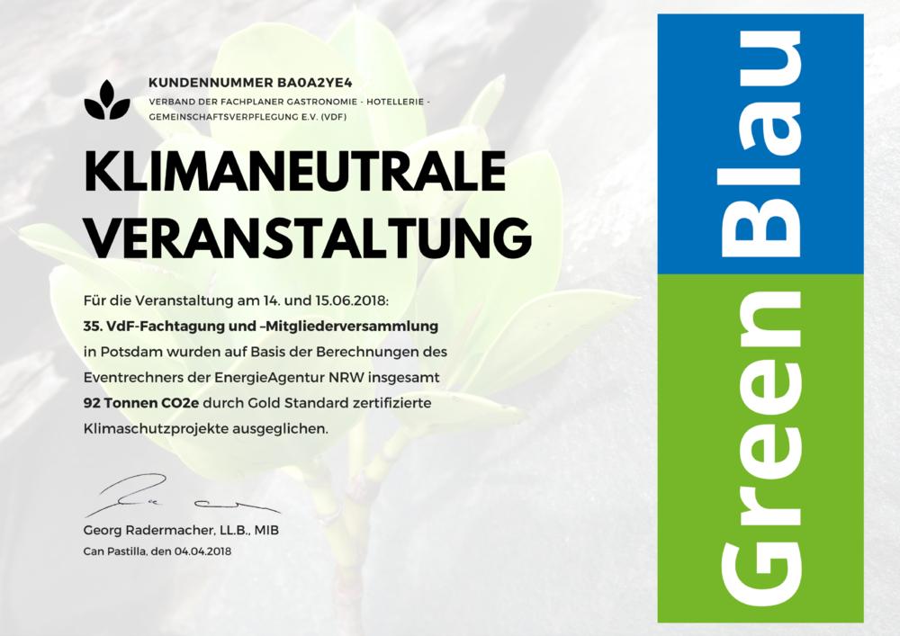 GreenBlau Urkunde 2018