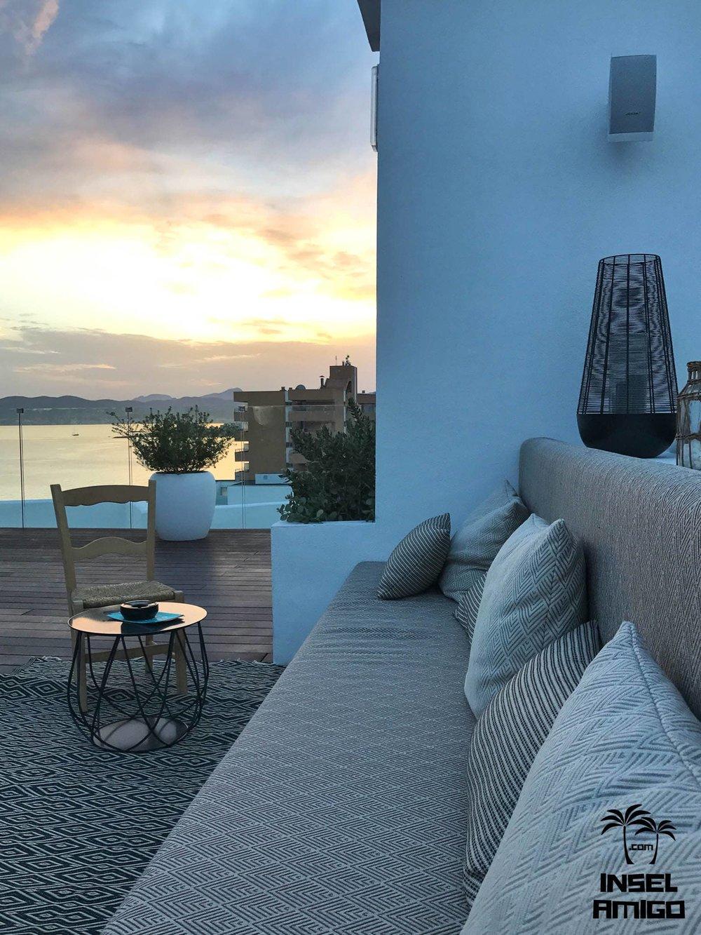 Blick vom hinteren Teil der HM Gran Fiesta Dachterrasse auf die Playa de Palma
