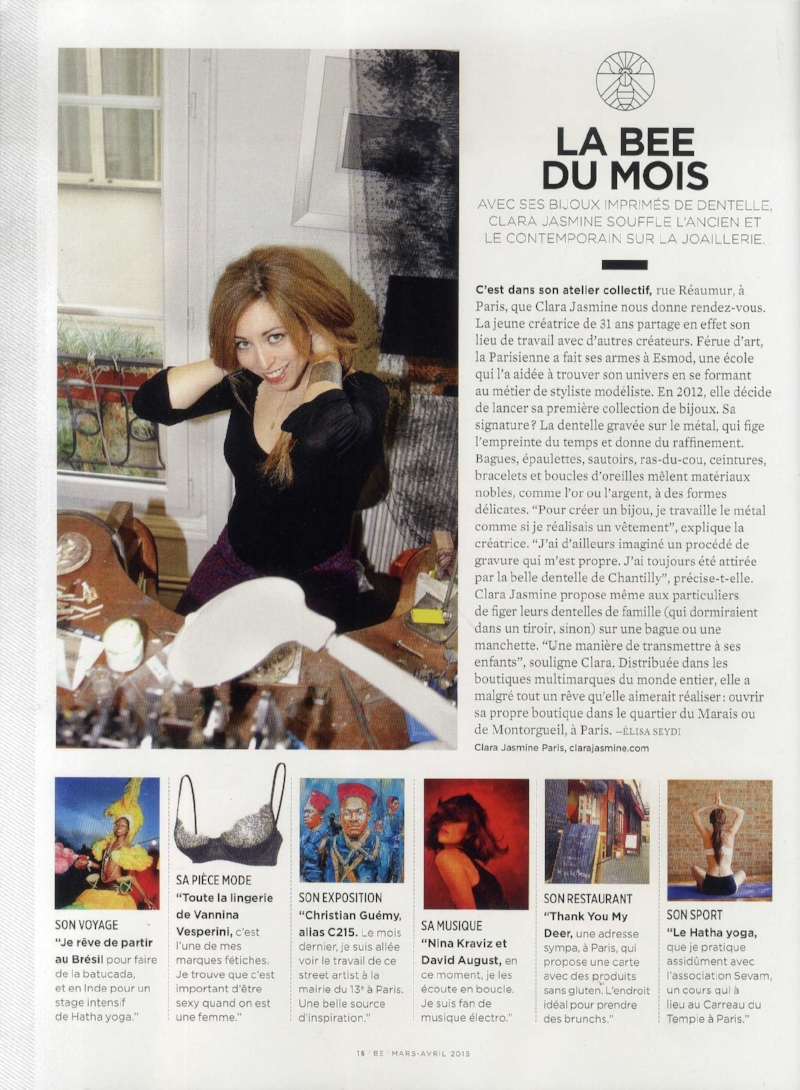 BE Mars 2015 P16 - interview - clara jasmine - be du mois