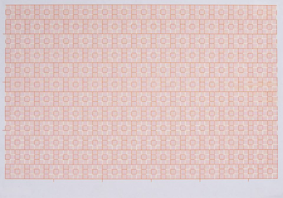 Observations on Graph Paper 1-24 // Eva Eich   »Observations on Graph Paper 1-24« is a series that consists currently of 24 drawings. Lines are drawn with white ink on ordinary A4 graph paper. The ink is added onto the surface, partly covering and removing the grid and thereby revealing structures and patterns which seem to exist within the grid or maybe just the mind.   Eva´s medium is the line. Her work shifts between drawing and weaving. She deals with the passing of time, duration and the rhythms of everyday life. She is interested in repetition and the process of making and passionate about putting lots of little things together to make larger pieces. Considering rules and constraints as liberating for the mind, she often works within self imposed settings, which allow to focus on the making and being in the moment