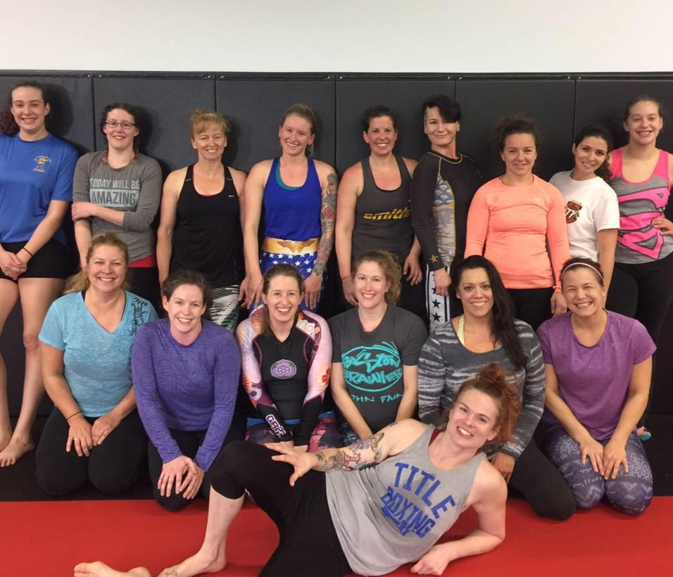 A packed women's class at Triumph.
