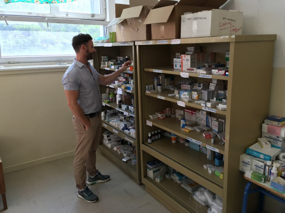 Doctor reviewing the medications stored