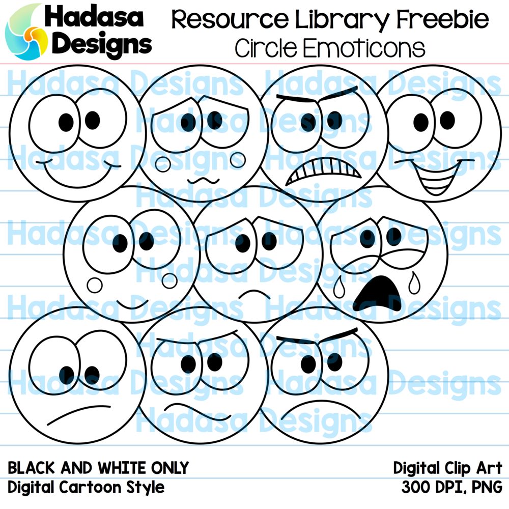 Circle Emoticons BW Preview 2.png