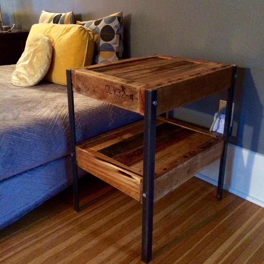Reclaimed wood and steel angle leg side tables