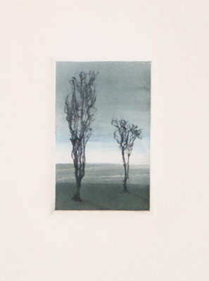 "Dawn Sentinels - oil monotype with fiber trees - one of a related series Dimensions: 2"" x 3"""